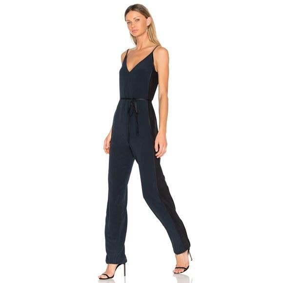 rag & bone Pants - Rag & Bone Rosa Silky Jumpsuit Navy Blue Black